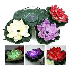 Solar Power LED Floating Lotus Light Night Pond Garden Fount