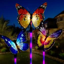 Solar Power Garden Stake Butterfly Outdoor Landscape Lamp Ya