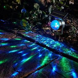 Solar Power Lamp LED Projector Light Rotating Colorful Light