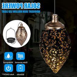 Solar Power LED Lantern Hanging Light Outdoor Lamp Yard Gard