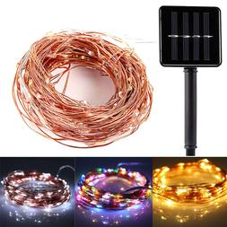 Solar Power LED String Lights 100 Copper Wire 33 ft. Waterpr