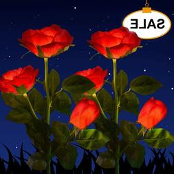 Solar Power Rose Flower Garden Stake Landscape Lights Fairy