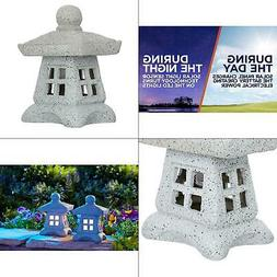 Solar Power LED Zen Pagoda Garden Statues Lanterns Light Out
