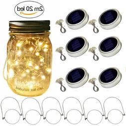 Solar Powered 20 LED Mason Jar Fairy String Light Lids Inser