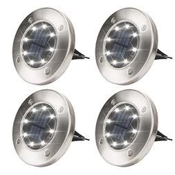 Solpex Solar Powered Disk Lights, 8LED Solar Pathway Lights