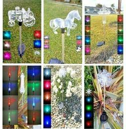 Solar Powered Garden Decor Stake Path Lawn Yard LED Outdoor
