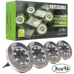 Solar Powered Ground Lights, 8LED Solar Path Lights Outdoor