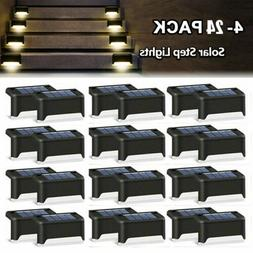 4-24PC Solar Powered LED Deck Lights Outdoor Path Garden Sta