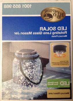 solar powered led mason glass jar rotating