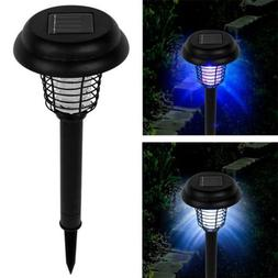 Solar Powered LED Light Pest Bug Zapper Insect Mosquito Kill