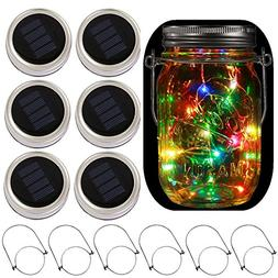 6-Pack Solar-powered Mason Jar Lights 20 LEDs,5 Colors Twink
