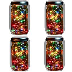 4-Pack Solar Powered Mason Jar Lights ,5 Colors 10 Bulbs Jar