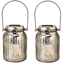 GIGALUMI Solar Powered Mercury Glass Mason Jar Lights Hangin