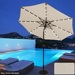 ABCCANOPY 9 FT Solar Powered Patio Umbrella 32LED Lights Sol