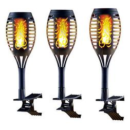 Solar Powered Realistic Flame Clip-On Lights - Set of 3