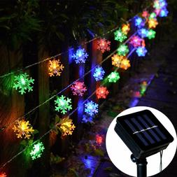 Solar Powered Snowflake String Fairy Lights Xmas Garden Outd