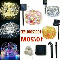 Solar Powered String Lights 100/200 LED Fairy Copper Wire Li