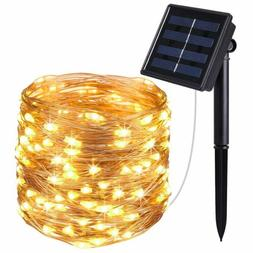 Solar Powered String Lights, 100 LED Copper Wire Lights, Sta