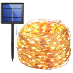 AMIR Solar Powered String Lights, 200 LED Copper Wire, 72ft