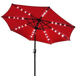 Yeshom 9' Outdoor Solar Powered LED Umbrella 8 Ribs w/ 32 Li
