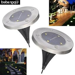 Solar In-ground Lights Pathonor 4 LED 2 Pack White Ray Pathw