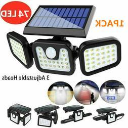 Solar Security Lights 3 Head 6000LM Motion Sensor Lights Adj