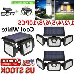 Solar Security Lights 3 Head Motion Sensor Flood Lamp Spotli