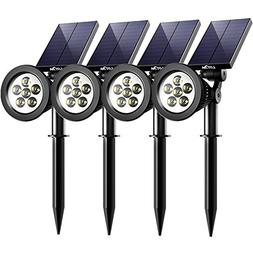 Solar Spotlights, Litom Upgraded 6 LED 2-in-1 Waterproof Out