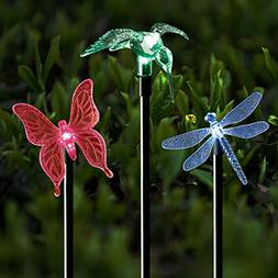 Solar Stake Lights Outdoor Garden Voona 3-Pack Color Chaning