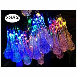 Lemontec Solar String Lights 20 Feet 30 LED Water Drop Solar