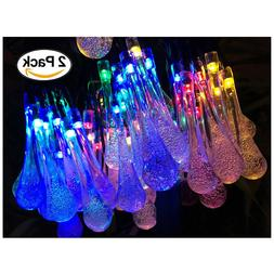 Lemontec Solar String Lights 20 Feet 30 LED Water Drop Solar