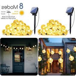 2-Pack Solar String Lights 20FT 30 LED Crystal Globe Lights