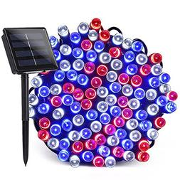 Qedertek Solar String Lights, 72ft 200 LED 8 Modes Patriotic