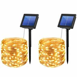 solar string lights 72ft 8 modes copper