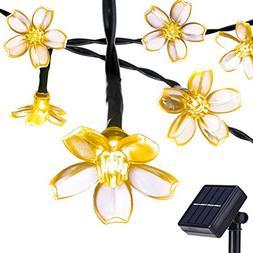 DecorNova Solar String Lights, 20 Feet 50 LED Crystal Flower