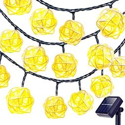 Goodia Solar String Lights, 20 Feet 30 LED Rattan Ball Fairy