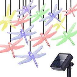 DecorNova Solar String Lights, 20 LEDs Dragonfly Solar Fairy