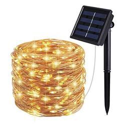 Moreplus Solar String Lights 100 LED 33ft 8 Modes Copper Wir