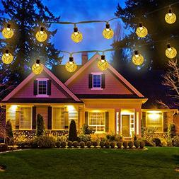 Icicle Solar String Lights,Waterproof 30 LED Crystal Globe S