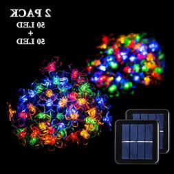 GIGALUMI 2 Pack Solar Strings Lights, 23 Feet 50 LED Flower