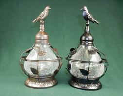 Solar Table Top Lamp, Bird Theme w/Rotating Light, Crackled