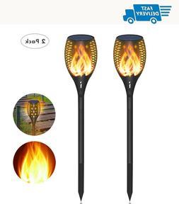 Solar Torch Lights Flame 2 Pack Waterproof Outdoor Decoratio