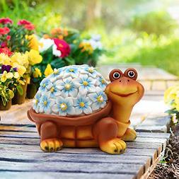 Petrala Solar Turtle Figurine Lights Garden Decor 9 LEDs Out