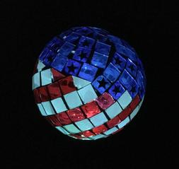 Solar USA Flag Ball LED Lights Mosaic Americana Globe Garden
