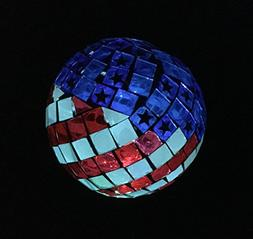 Solar USA Flag Ball LED Lights, Solar Mosaic Americana Globe