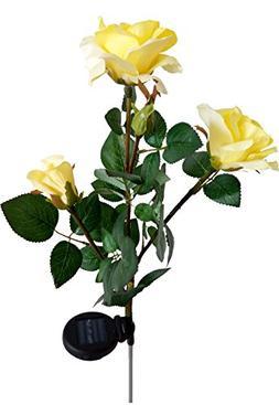Solar Yellow Rose Flower Lights, Solar Powered Garden Outdoo