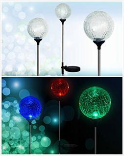 "Solaration Crackle Glass Globe Solar Lawn Light, 3.5"" Dia"