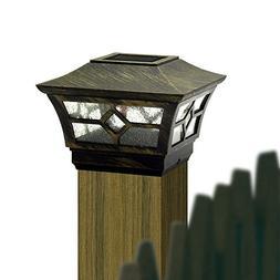 CHEEKON 3-1/2 or 4 x 4 Solar Post Cap Light 1 LED High brigh