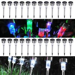 24 Pcs Stainless Steel Solar Powered Garden LED Light Pathwa