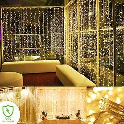 ADDLON String lights Curtain, 300 LED Icicle Wall Lights, Fa
